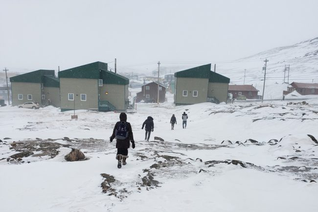 students walking in Iqaluit