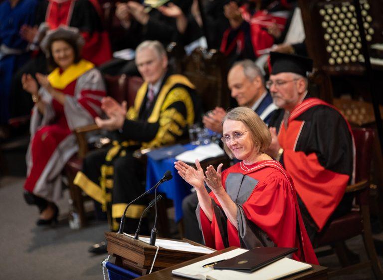 Janis Chodas receiving honorary degree