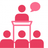 Speaker presenting in front of audience icon
